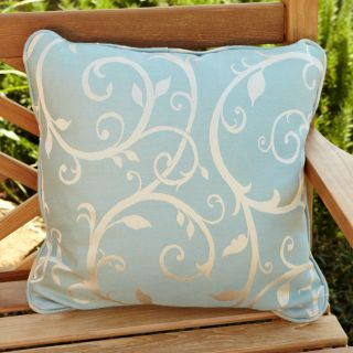Clara Blue/ Beige Swirl 22 inch Square Outdoor Sunbrella Pillows (Set