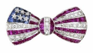 18 kt. White Gold Diamond Sapphire Ruby Flag Pin (.38 TDW)