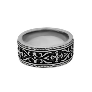 Black Ion plated Stainless Steel Mens Cross Detail Band