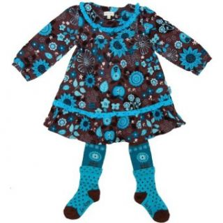 Le Top Pretty As a Flower Corduroy Dress with Tights