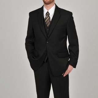 Adolfo Mens Solid Black 2 button Suit Separate Coat