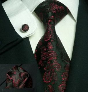 Mens Paisley Black And Red 100% Silk Tie Set TheDapperTie