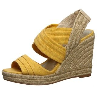 Ann Marino Womens Jillian Yellow Criss cross Wedges