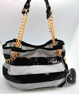 Stripe Chainlink Shoulder Hobo Bag Purse Tote Heather Cozy Shoes