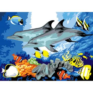 Junior Large Paint By Number Kit 15 1/4 X 11 1/4 Dolphins