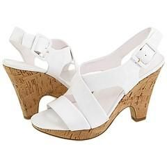 Franco Sarto Talk White Patent Sandals (Size 10)