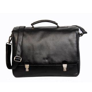 Kozmic Black Pebble Grain Leather Messenger Bag