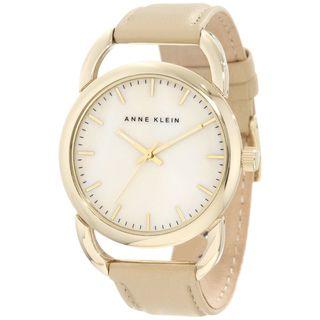 Anne Klein Womens Stainless Steel Beige Leather Strap Watch