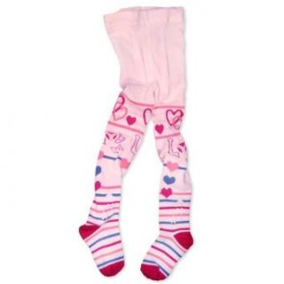 Naartjie Girls Tights   Love Hearts & Stripes 1 Pair Pink