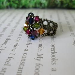 Crystal Multicolor Beaded Flower Ring (USA)