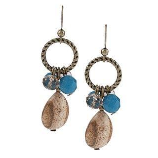 Alexa Starr Goldtone Picture Jasper and Blue Jade Cluster Earrings