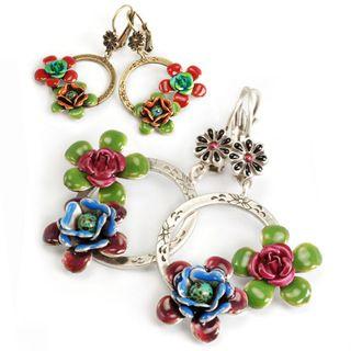 Sweet Romance Silvertone or Bronze Enamel Flower Earrings
