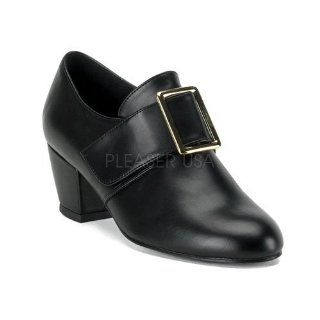 Womens Pilgrim Shoe W/Gold Buckle, 2 inch Black Faux Leather Shoes