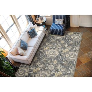 Graphic Illusions Floral Grey Rug (53 x 75)