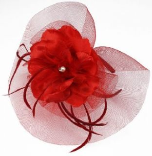 KCMODE Womens Red Mesh Feather Hair Fascinator Clothing