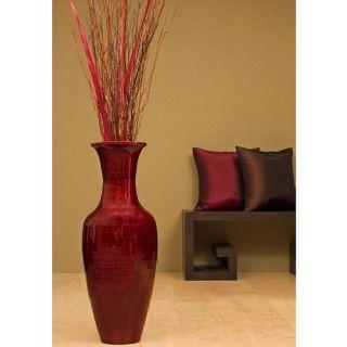 28 inch Bamboo Floor Vase & Floral Arrangement