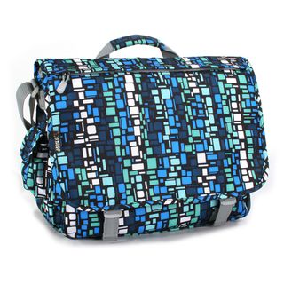 World Thomas Blue Squares Laptop Messenger Bag