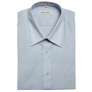 Armando Mens Light Blue Convertible Cuff Dress Shirt