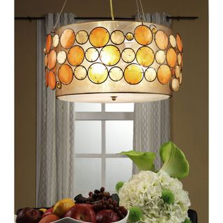 Isabela Orange Capiz Shell Pendant Lighting