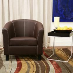 Elijah Dark Brown Faux Leather Modern Club Chair