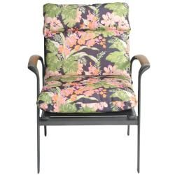 Gosi Floral All weather Outdoor Dark Grey Chair Cushion
