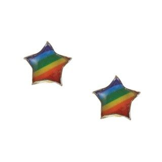 Sterling Silver Rainbow Enamel Pride Star Studs