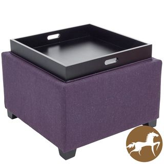 Christopher Knight Home Andrea Purple Fabric Tray Top Storage Ottoman