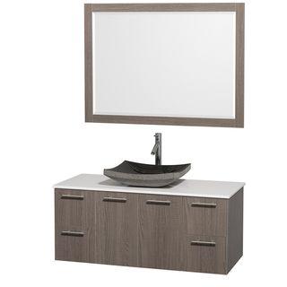 Wyndham Collection Amare 48 inch Grey Oak/ White Top/ Granite Sink