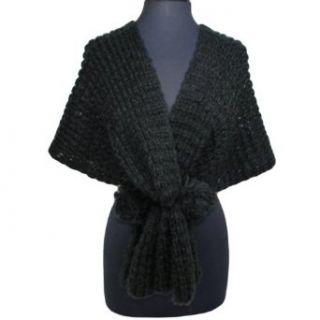 Black Thick Knit Shawl Wrap W/Pom Pom Ties Clothing