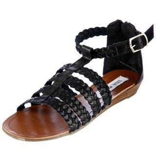 Steve Madden Womens Paggan Black Leather Flat Sandals