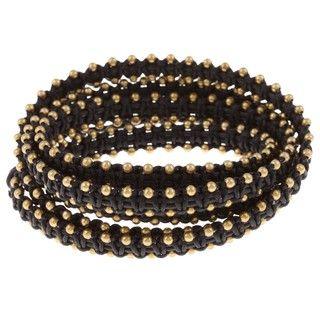 Goldtone Bead Design 5 Wrap Bracelet