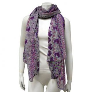 Purple Multi Color Spring Flower Patterned Scarf Pareo