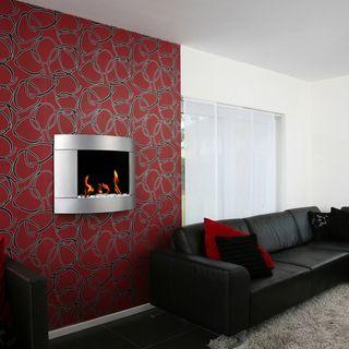 Bio Blaze Diamond I Bio Ethanol Wall Mounted Silver Finish Fireplace