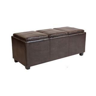 Franklin Extra Large Rectangular Brown Faux Leather Storage Ottoman