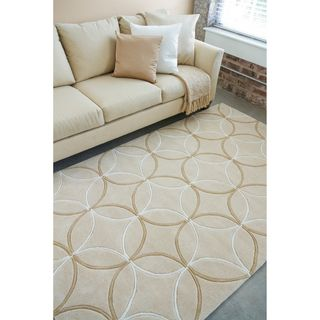 Hand tufted Contemporary Beige Retro Chic Geometric Rug