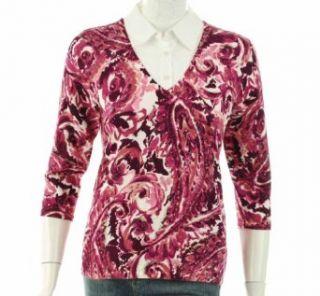 NEW KAREN SCOTT WOMENS BLOUSE 3/4 MULTI TOP P/S Clothing