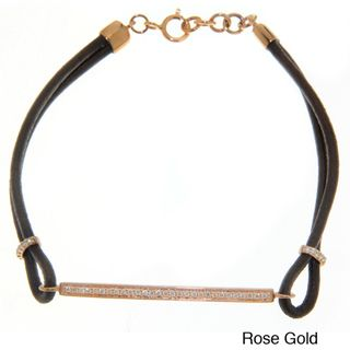14k Gold 1/5ct TDW White Diamond Leather Bracelet (IJ, I1 I2