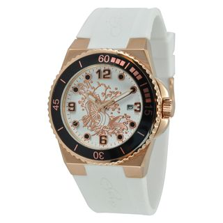 Ed Hardy Womens Gold Steel Dive Immersion Koi Watch