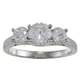 Sterling Silver Clear Cubic Zirconia 3 stone Ring