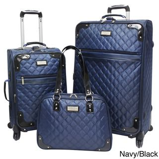 Beverly Hills Country Club BH4800 3 piece Quilted Spinner Luggage Set