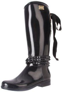 dav Womens Eve Solid Black with Black Belt Rain Boot Shoes