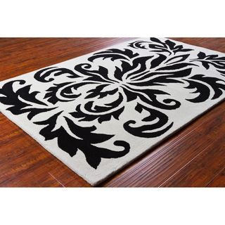 Allie Handmade Black and White Wool Rug (5 x 76)
