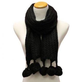 Black Open Knit Crocheted Ultra Soft Scarf W/Pom Poms