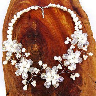 Floral Garden Freshwater Pearl Statement Necklace (Thailand