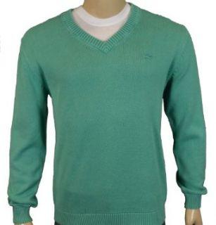 Lacoste Mens Vintage Wash V Neck Sweater Green Large (6