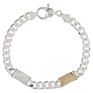 Sterling Silver and 18k Gold 6 mm Double Bar Link Bracelet