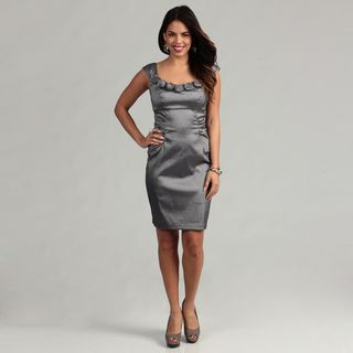 London Times Womens Gunmetal Taffeta Sheath Dress