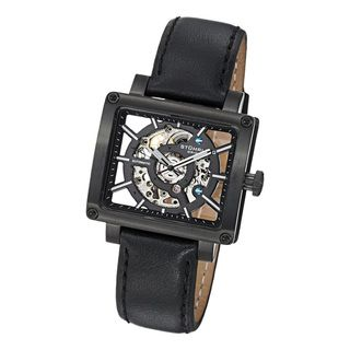 Stuhrling Original Womens Lady Axis Automatic Black Leather Strap