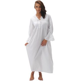 Alexander Del Rossa Womens Romeo & Juliet White Cotton Nightgown