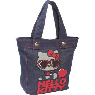 Loungefly Hello Kitty Red Heart Sunglasses Tote (Denim) Shoes
